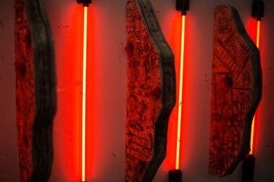 Ceramic, Flocking, Fishing Line, Tool Dip, and Neon Light Tube, 2016