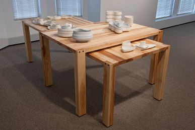 "from ""Rituals of the Maker"" Robert Turner Teaching Fellowship Exhibition, Slip cast porcelain, ash wood"