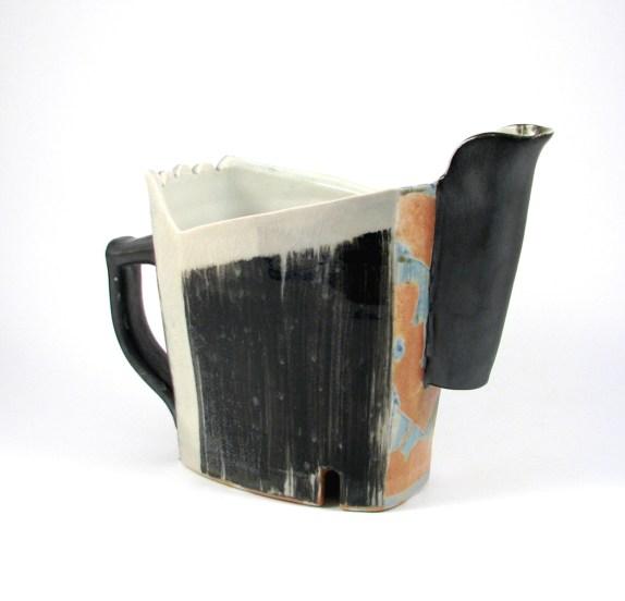 "Thrown & Altered with Handbuilt Elements, Porcelain, Wood/Gas, Salt & Soda, Cone 10, 8.5""x4.5""x10"", 2017"
