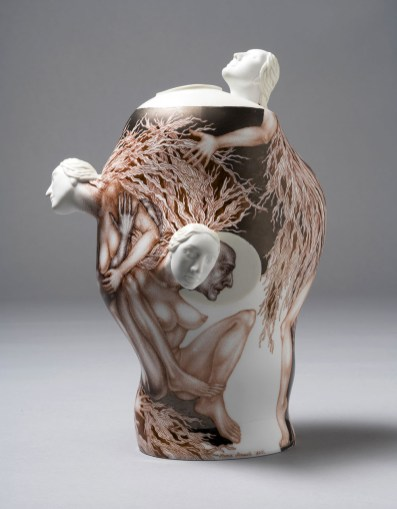 2015, Porcelain, Gas reduction firing at Cone 14, Overglaze painting