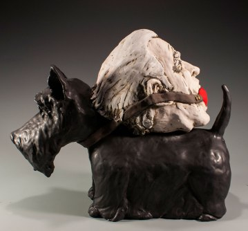 H: 14 x W: 17 x D: 7, Ceramic (low-fire clay, oxides, terra sigillata, underglazes, glaze, goldluster, and electric-fired), 2014