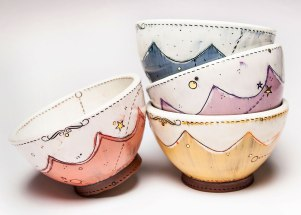 Scallop Bowls, 2014. Ceramic, slip, underglaze, glaze and luster. Multi-fired in an electric kiln. 3.25 x 5.75 x 5.75 inches each