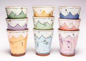 Scallop Cups, 2014. Ceramic, slip, underglaze, glaze and luster. Multi-fired in an electric kiln. 4.25 x 3.75 x 3.75 inches each