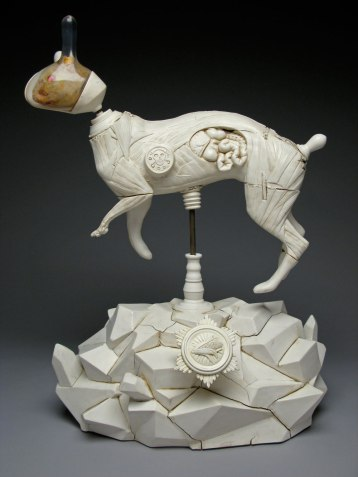 23x14x11 inches, Polished porcelain, taxidermy squirrel, cast plastic, mixed media.