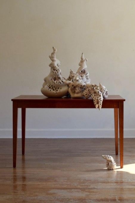 "H 30"" x W 45"" x D 60"", porcelain, luster, found table, 2016"