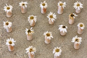 """2016, 77"""" x 48"""" x 54"""", Handbuilt porcelain flowers, stoneware, stain, real daisies, Photo credit: Peter Lee"""