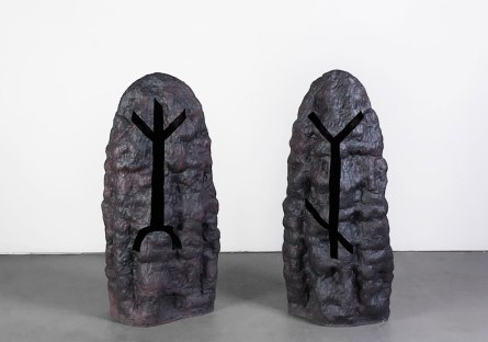 "2016. Stoneware, black iron oxide. Dimensions variable, each ceramic piece approx. 12""L x 18""W x 44""H"
