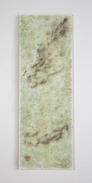 "encaustic and broken glass on panel. 80""H x 28""W x 2'D. 2015."