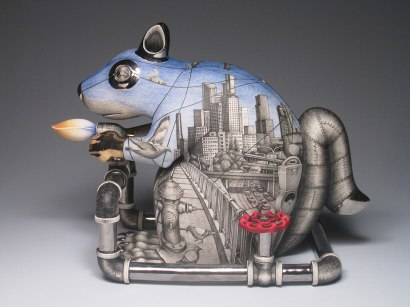"porcelain, underglaze and luster, 15"" x 12"" x 15"", 2008"