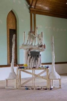 Ceramic, Latex paint, Unfired clay, Wood, 9'x7', 2014