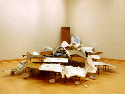 Porcelain, Mason Stains, Sulfates, Copper, Aluminum, Paper, Fiber Glass Resin, and Welded Steel. Dimensions Vary. 2010