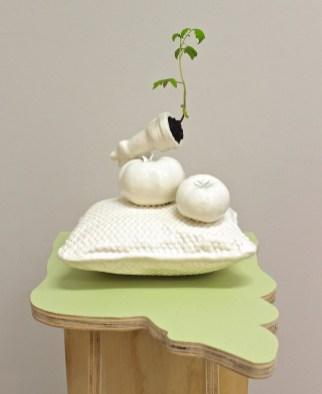 "2017, glazed earthenware, tomato plant, wood, house paint, 40"" x 13"" x 20"""