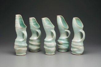 """2015, 15"""" x 6"""" x 5"""" (h x w x d), Porcelain clay, Wheel thrown, altered and assembled clay that has been glazed and fired in oxidation to cone 6 in an electric kiln."""