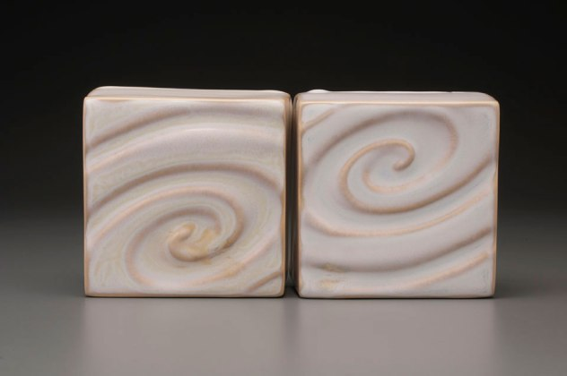 """2014, 1.5"""" x 5"""" x 5"""" (h x w x d), Porcelain clay, Slip cast from an original Wheel thrown and altered clay parts that has been glazed and fired in oxidation to cone 6 in an electric kiln."""