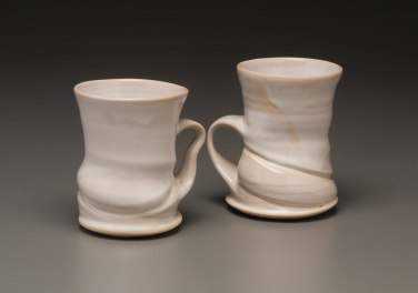 """2015, 5"""" x 4"""" x 3"""" (h x w x d), Porcelain clay, Wheel thrown and altered clay that has been glazed and fired in oxidation to cone 6 in an electric kiln."""