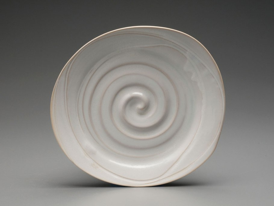 """2014, 1.5"""" x 11"""" x 10"""" (h x w x d), Porcelain clay, Wheel thrown and altered clay that has been glazed and fired in oxidation to cone 6 in an electric kiln."""