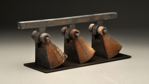 """Artifact Series, """"Connected"""", H 10"""" x W 28"""" x D 8"""", 2013, Sagger and Mid Fired Stoneware & Steel"""