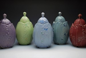 """Wheel-thrown and altered porcelain w. slip-sponge, underglaze, and slip-trail deco, cone 7 oxidation. Each approx. 9"""" h x 5.5"""" w x 5.5"""" d, 2014"""