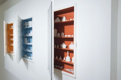 2014, porcelain, wood, paint, nails, glass, thread