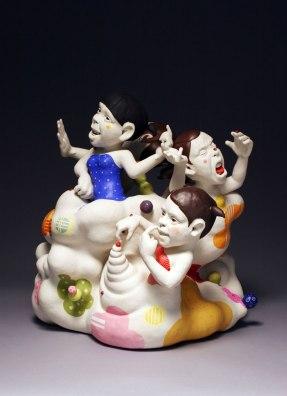 """2014, Porcelain, Under glaze, Glaze, Resin, 23""""x19""""x25"""""""