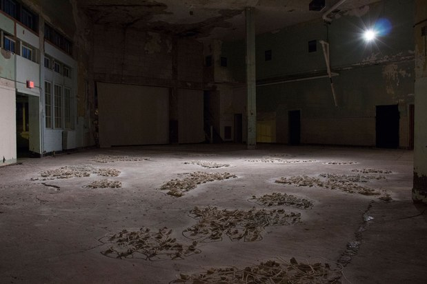Installation in 4,155 sq. ft. Old Post Office, Porcelain, Unfired Porcelain, Slump Body, Sand, 2015
