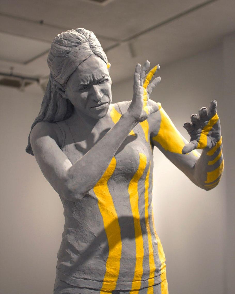 "2012, Earthen-ware,slip, acrylic. 37.5""x15""x12"""