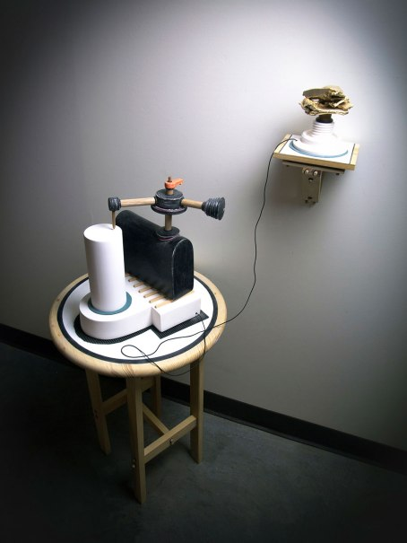 """2014, H 24"""" x W 36"""" x D 24"""", White Earthenware, Cone 04, sanded surface, Wood, Plastic, and Paint"""