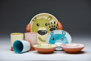 "Bear Platter with Puff Handles 2""H X 12"""