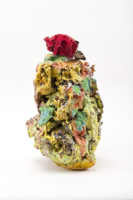 Earthenware, stoneware, glaze, underglaze, multiple firings, with flock application, 10 x 5 x 5 inches, 2016
