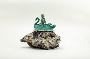 stoneware, & reclaim clays, under glaze, & glaze, multiple firings, 7 x 6 x 4 inches, 2015