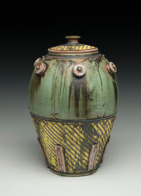 "8""H x 6""x 6""L. Earthenware, wheelthrown. Terra sigillita, underglaze. Electric fired cone 04"
