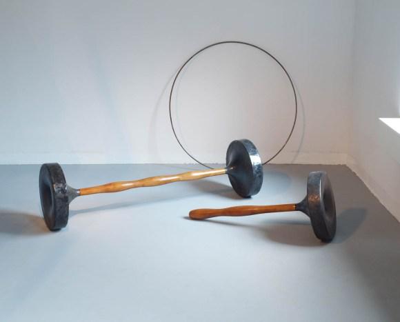 chamotte mass, glaze, wood, 200 x 150 cm