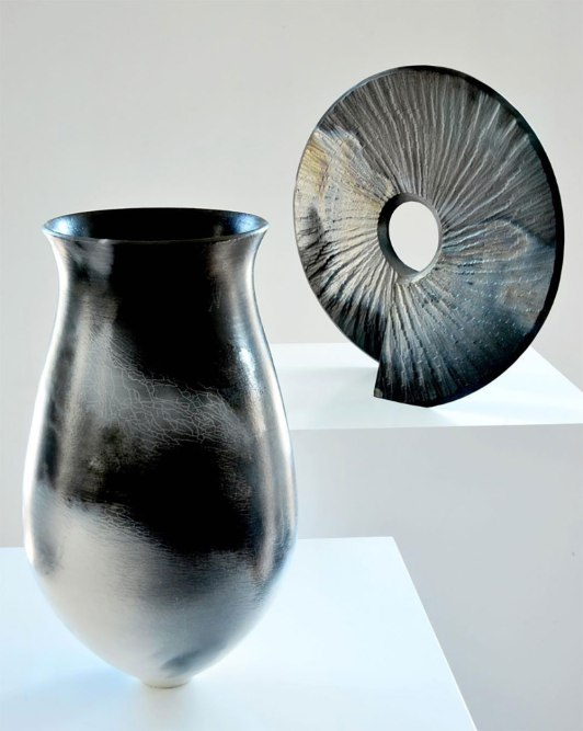"""Michael Rice, """"Saggar fired thrown vessel and 'Coriolis' form"""""""