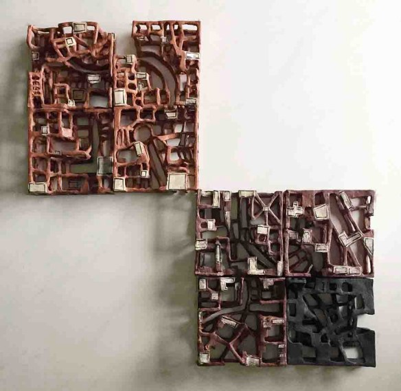2017, Red and Black Stoneware, 21 X 21 inches each