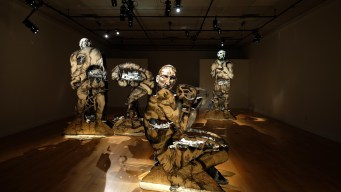 - porcelain sculptures, multi-fired, underglazed, painted and glazed, on wooden bases and structures - pyrography on wood, painted, varnished- 2016 solo exhibition series Match at public gallery Art-image in Gatineau- awarded the Prix du CALQ – Œuvre de l'année en Outaouais – Work of the Year in the Outaouais 2017, and recently exhibited in the solo public exhibition Source et ressource at the Centre D'Art Rotary in La Sarre, Quebec from Nov 2019 to Feb 2020- a visual exploration of the manifestation of the boxing sport as transformative of the human figure- the artist allowed the town of Buckingham's emotional investment in their boxing hero Gaétan Hart to become the central theme
