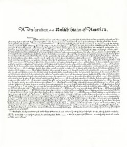 Hand-written interpolation of The Declaration of Independence. Archival ink on paper.