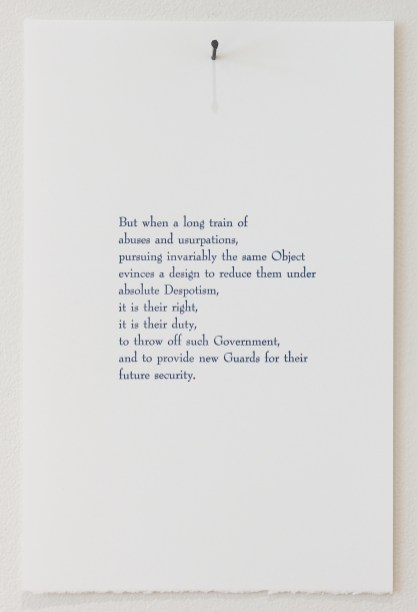 """Letterpress. Excerpted from """"A Declaration for the United States of America""""."""