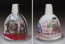 Handmade Colored Grog and Slipcast Porcelain, Sepia-Tone and Overglaze Decals (19x12x12 cm)
