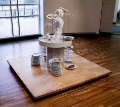 """2009, Glazed earthenware with china paint decals, wood. 75"""" h x 96"""" w x 96"""" d. Photo credit – Allen Cheuvront"""