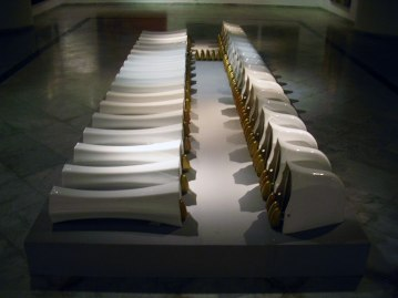 Ready made objects of sanitary ware, stoneware, 1250c, gold 2nd firing 700c, 550cm &150cm &30cm, 2006