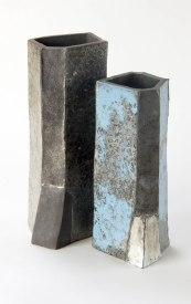 H 30cm and 26 cm, white clay, raku firing, glazes, 1999