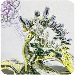 """Porcelain, underglaze, glaze, nichrome wire, wire, thread, 38"""" x 22"""" x 16"""" (dimensions may vary), 2018"""