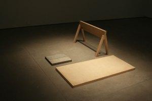 "Cut Concrete, Birch Plywood, Domestic Ash, and Domestic Butternut, 56"" x 36"" x 14"""
