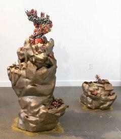 installation is variable dimensions, Porcelain, foam, concrete, gold leaf, copper leaf, resin, mixed media, 2017