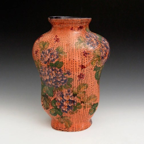 2015, Porcelain, 6 x 8 x 11 inches, slip-cast, underglaze applied with a slip trailer on bisqueware then a clear glaze is applied, bisque fired to cone 06 oxidation, glaze fired in cone 10 reduction, vintage decals applied and fired to cone 022 oxidation