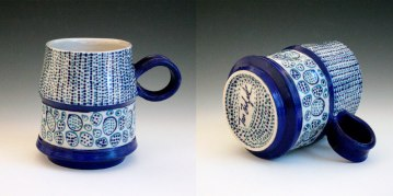 2014, Porcelain, 4 x 4 1/2 x 4 inches, thrown, underglaze applied with a slip trailer on bisqueware then a clear glaze is applied, bisque fired to cone 06 oxidation, glaze fired in cone 10 reduction