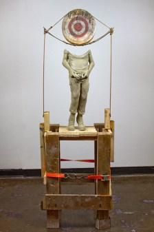"Ceramic, steel, found wood, 550 cord, underglaze, wash, 68x15x14"", 2016"
