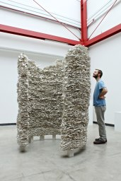 2012, clay slip, fiber insulation, cement, metal rods, 87 x 63 x 63 in.