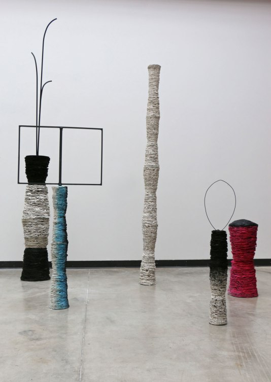 2014, clay, ink, steel, fiber, dimensions variable