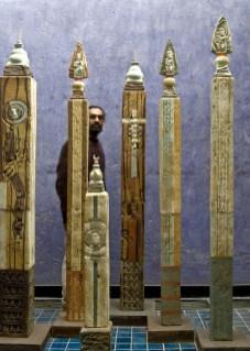 """Vineet Kacker, """"Monastery and Temple Pillar Installation"""""""